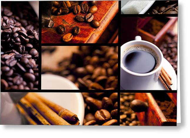 David Cook Los Angeles Greeting Cards - DCLA Coffee Montage Print Greeting Card by David Cook Los Angeles