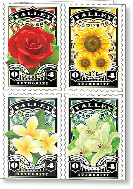 David Cook Los Angeles Greeting Cards - DCLA Combo Flower 2 Stamp Art Greeting Card by David Cook Los Angeles