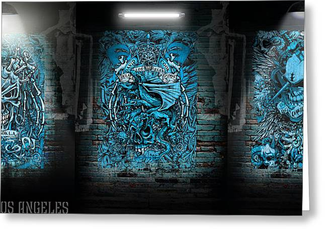David Digital Art Greeting Cards - DCLA Rock And Roll Skulls Collection 1 Greeting Card by David Cook Los Angeles