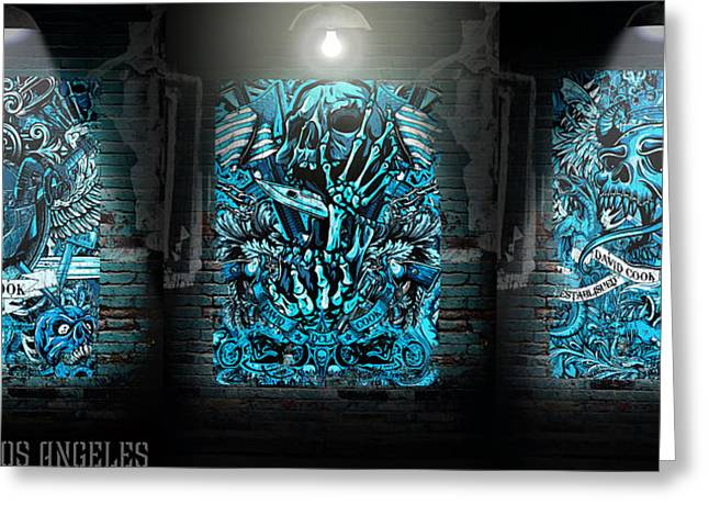 David Digital Art Greeting Cards - DCLA Rock And Roll Skulls Collection 3 Greeting Card by David Cook Los Angeles