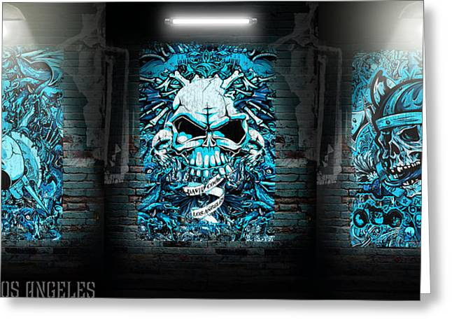 David Digital Art Greeting Cards - DCLA Rock And Roll Skulls Collection 4 Greeting Card by David Cook Los Angeles
