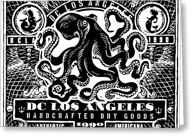 David Cook Los Angeles Greeting Cards - DCLA Vintage Octopus Travel Stamp Art  Greeting Card by David Cook Los Angeles