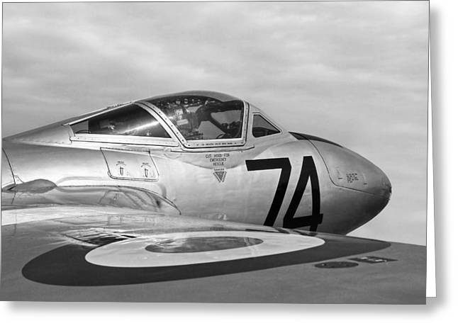 Single-engine Photographs Greeting Cards - de Havilland Vampire - Black and White Greeting Card by Gill Billington
