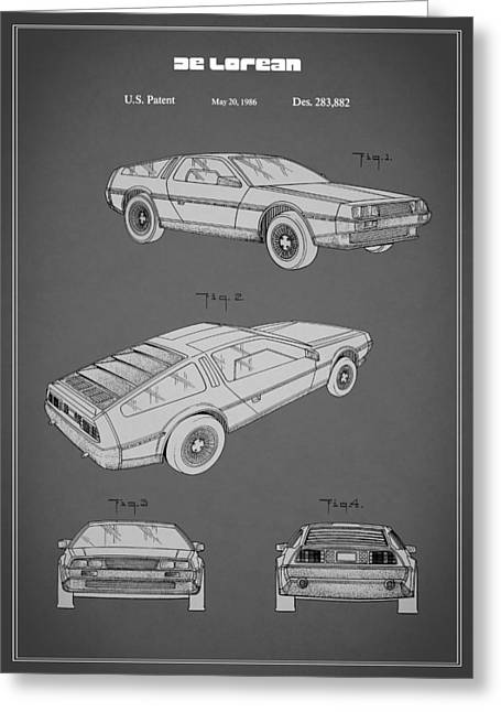 Back To The Future Greeting Cards - De Lorean Patent 1986 Greeting Card by Mark Rogan
