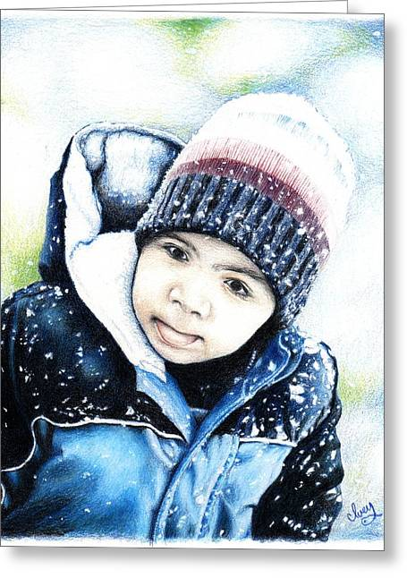 Mike Ivey Greeting Cards - Deacon In The Snow Greeting Card by Mike Ivey
