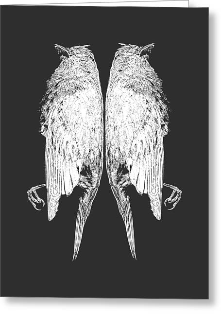 Contemporary Symbolism Greeting Cards - Dead Birds Tee White Greeting Card by Edward Fielding