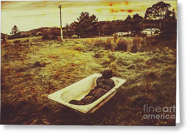 Dead Body Lying In Bath Outside Greeting Card by Jorgo Photography - Wall Art Gallery