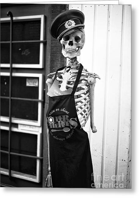 Apron Greeting Cards - Dead Chef mono Greeting Card by John Rizzuto