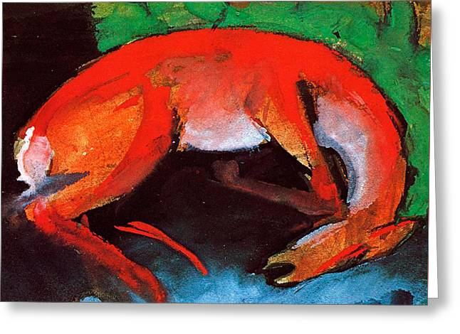 Green And Blue Greeting Cards - Dead Deer Greeting Card by Franz Marc