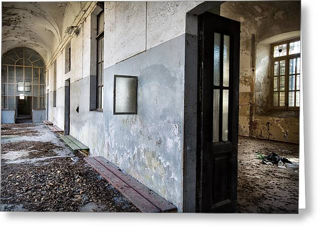 Deserted Castle Greeting Cards - Dead Leaves At The Monastery - Ruban Exploration Greeting Card by Dirk Ercken
