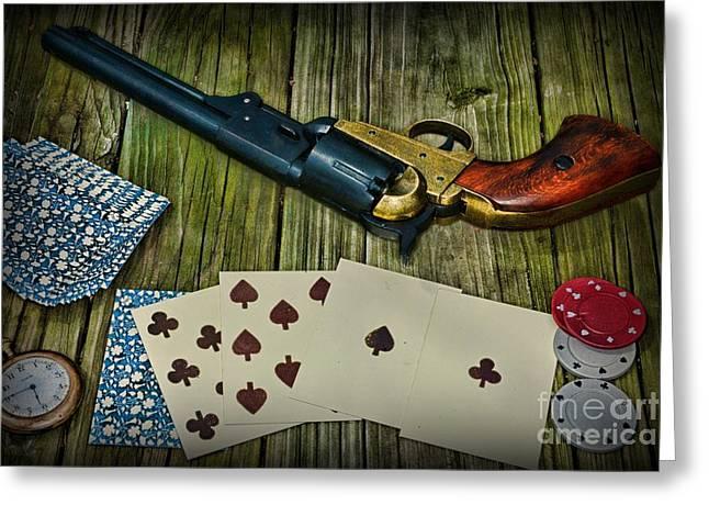 Dead Mans Gun Aces High Greeting Card by Paul Ward