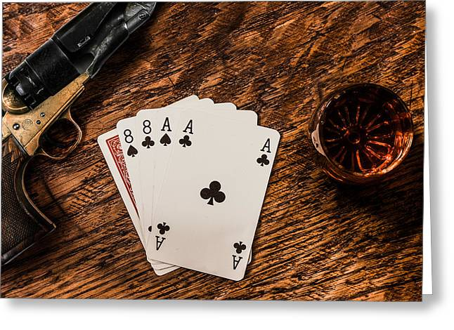 Wild Bill Greeting Cards - Dead Mans Hand a Gun and a Shot of Whiskey Greeting Card by Semmick Photo