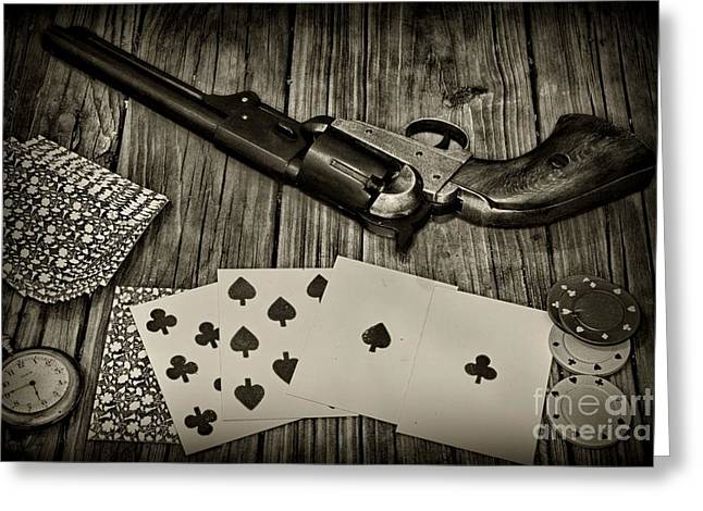 Dead Mans Hand Black And White Greeting Card by Paul Ward