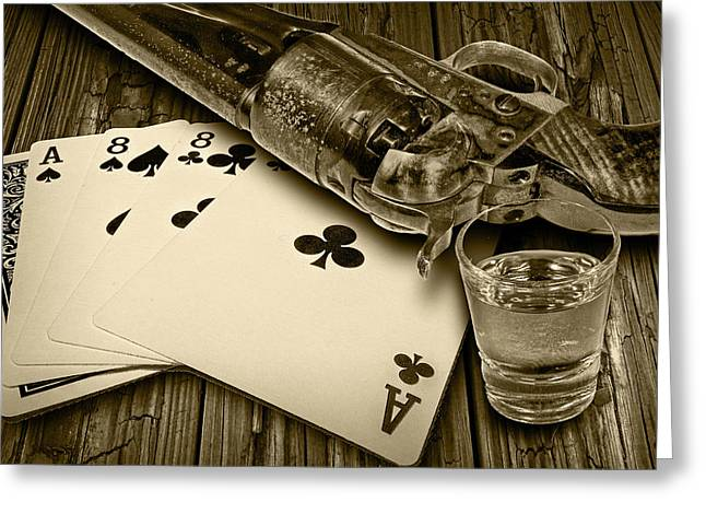 Playing Cards Greeting Cards - Dead Mans Hand in Sepia Greeting Card by Randall Nyhof