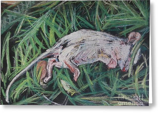 Mouse Pastels Greeting Cards - Dead mouse in grass Greeting Card by Michael African Visions