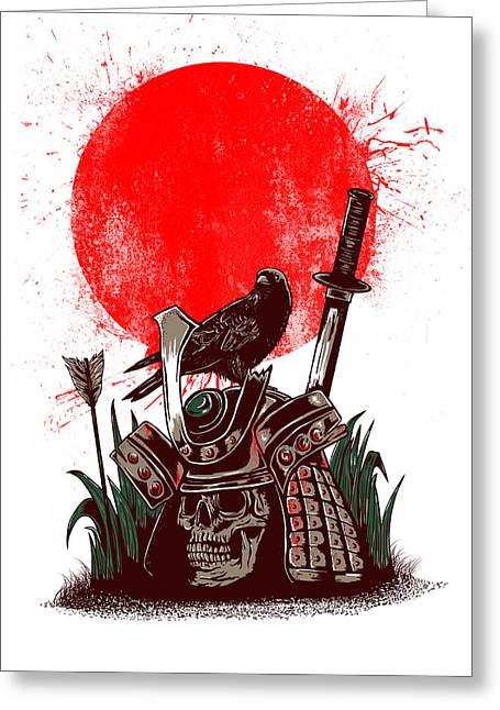 Skull Digital Art Greeting Cards - Dead Samurai Greeting Card by Anggrahito Pramono