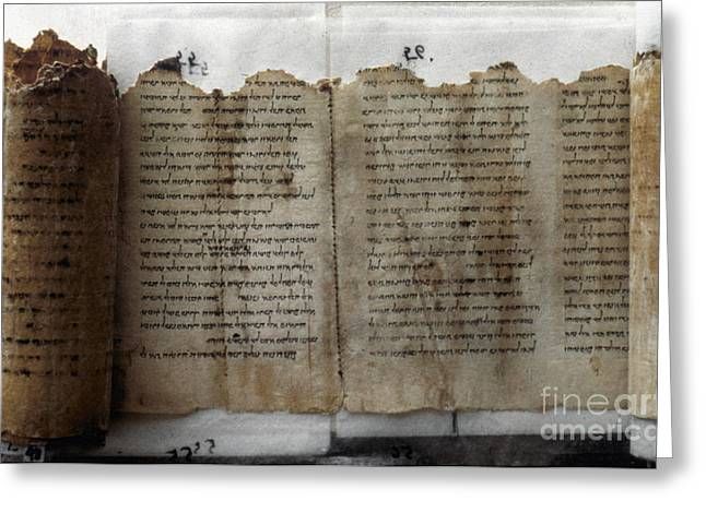 Dead Sea Greeting Cards - Dead Sea Scroll Greeting Card by Granger