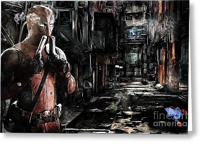 Deadpool Merc-ing Aint Easy Greeting Card by The DigArtisT