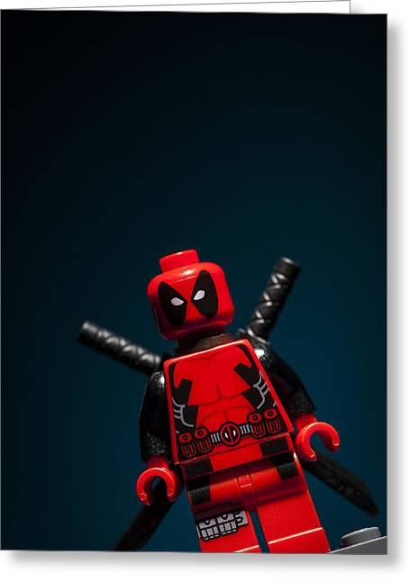Lego Greeting Cards - Deadpool Greeting Card by Samuel Whitton