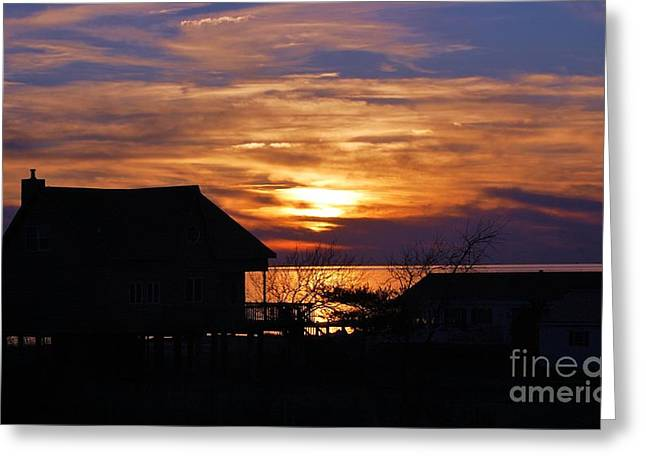 Sunset Posters Greeting Cards - Deal Island Silhouette Greeting Card by Courtney Dagan