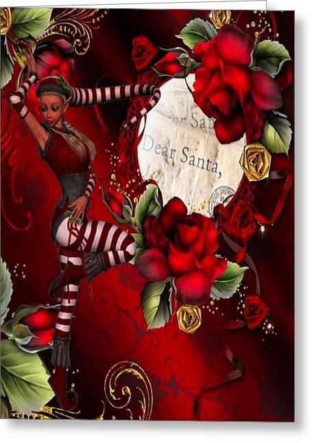 Bedroom Art Greeting Cards - Dear Santa Greeting Card by G Berry