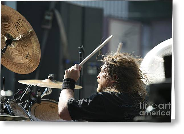 Rock Groups Greeting Cards - Death Angels Drummer Greeting Card by Chuck Kuhn
