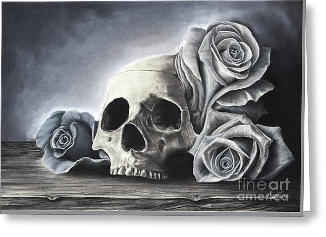 Death By The Rose Greeting Card by Charles Toy