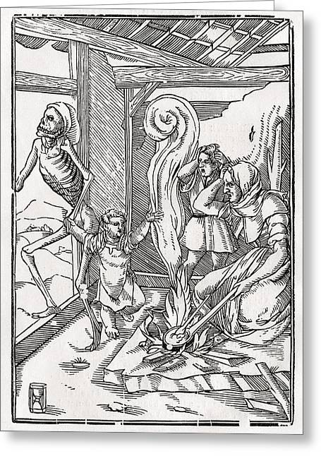 Bale Drawings Greeting Cards - Death Comes For The Child After Hans Greeting Card by Vintage Design Pics