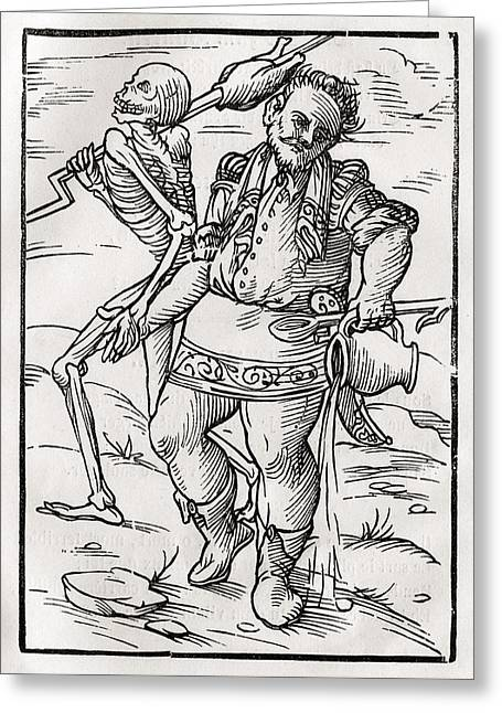 Bale Drawings Greeting Cards - Death Comes For The Cook From Der Greeting Card by Vintage Design Pics