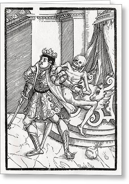 Bale Drawings Greeting Cards - Death Comes For The King From Der Greeting Card by Vintage Design Pics