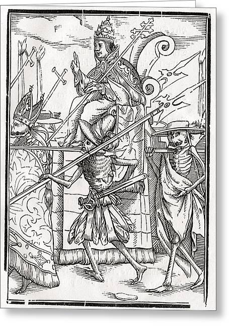 Bale Drawings Greeting Cards - Death Comes For The Pope From Der Greeting Card by Vintage Design Pics
