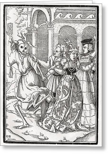 Bale Drawings Greeting Cards - Death Comes For The Queen Woodcut By Greeting Card by Vintage Design Pics