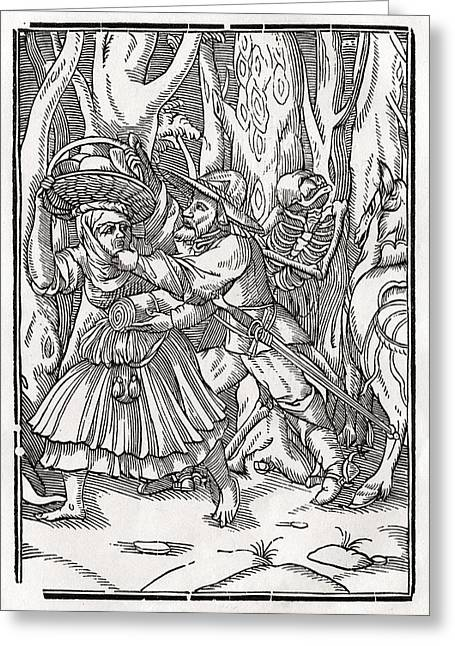 Bale Drawings Greeting Cards - Death Comes For The Robber After Hans Greeting Card by Vintage Design Pics