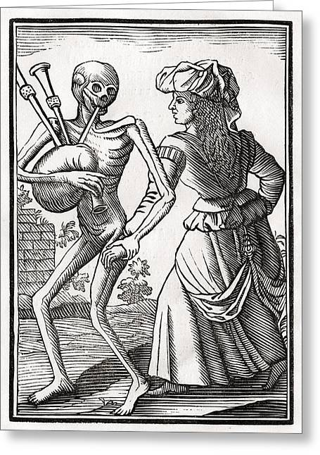 Heathen Greeting Cards - Death Comes For The Unbelieving Woman Greeting Card by Vintage Design Pics