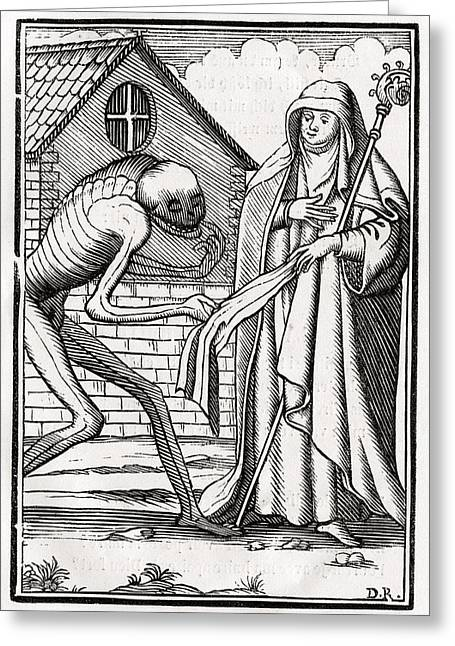 Bale Drawings Greeting Cards - Death Comes To The Abbess From Der Greeting Card by Vintage Design Pics