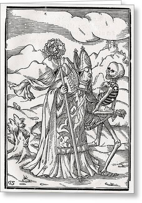 Bale Drawings Greeting Cards - Death Comes To The Bishop Woodcut By Greeting Card by Vintage Design Pics