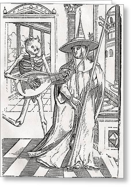 Bale Drawings Greeting Cards - Death Comes To The Cardinal From Der Greeting Card by Vintage Design Pics