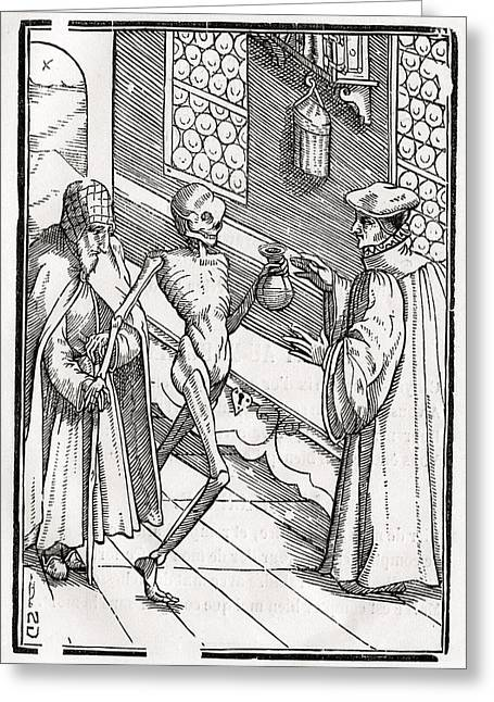 Bale Drawings Greeting Cards - Death Comes To The Doctor Woodcut By Greeting Card by Vintage Design Pics