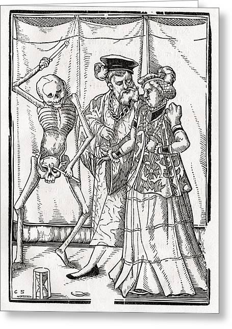 Bale Drawings Greeting Cards - Death Comes To The Duchess Woodcut By Greeting Card by Vintage Design Pics