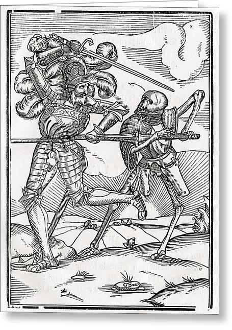 Bale Drawings Greeting Cards - Death Comes To The Knight Or Count Greeting Card by Vintage Design Pics