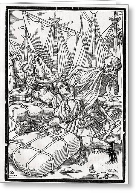 Bale Drawings Greeting Cards - Death Comes To The Merchant Woodcut By Greeting Card by Vintage Design Pics