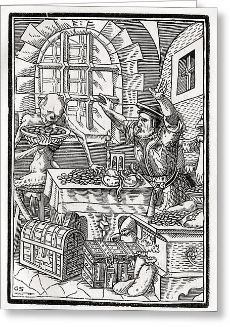 Bale Drawings Greeting Cards - Death Comes To The Miser Or Usurer Greeting Card by Vintage Design Pics