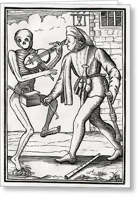 Bale Drawings Greeting Cards - Death Comes To The Musician From Der Greeting Card by Vintage Design Pics