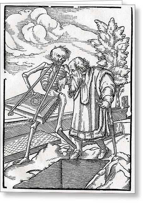 Bale Drawings Greeting Cards - Death Comes To The Old Man Or The Greeting Card by Vintage Design Pics