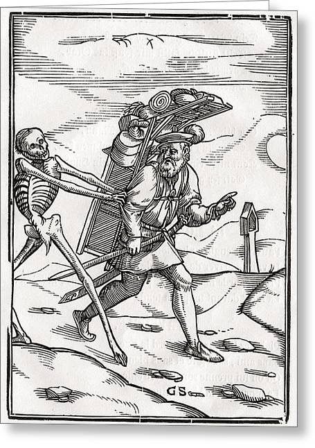 Bale Drawings Greeting Cards - Death Comes To The Pedlar Woodcut By Greeting Card by Vintage Design Pics