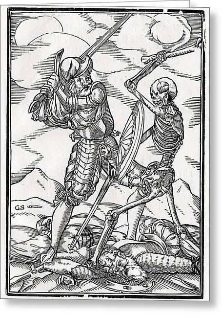Bale Drawings Greeting Cards - Death Comes To The Soldier Woodcut By Greeting Card by Vintage Design Pics