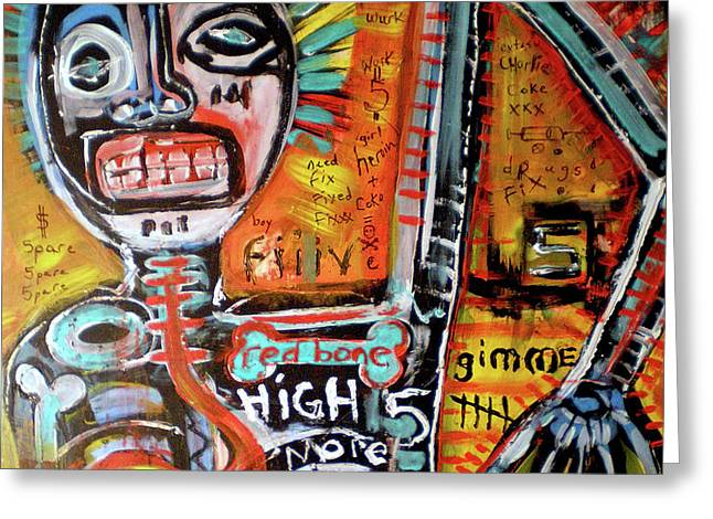 Death Of Basquiat Greeting Card by Robert Wolverton Jr