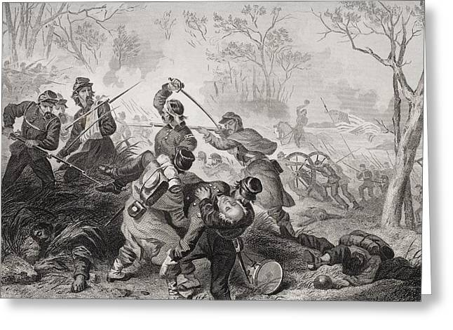 Engagement Picture Greeting Cards - Death Of Colonel Edward D. Baker At The Greeting Card by Ken Welsh