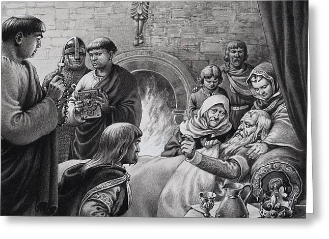 Death Of Edward The Confessor  Greeting Card by Pat Nicolle