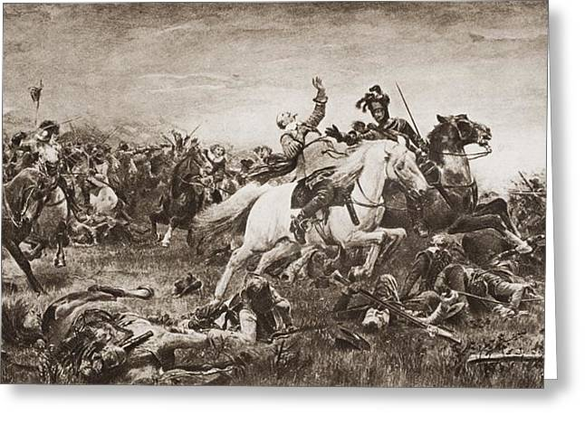 Bravery Greeting Cards - Death Of Gustavus Adolphus, 1594-1632 Greeting Card by Ken Welsh